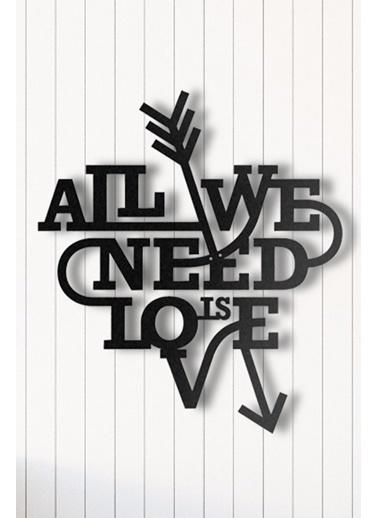 Angemiel Home Aşk İhtiyaçtır Metal Duvar Tablosu Siyah